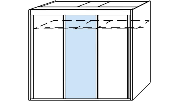 3 Door 1 Mirror Slider 300cm wide
