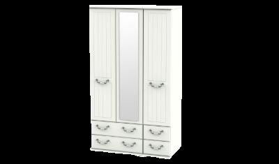 3 Door 4 Drawers Tall Combi Wardrobe